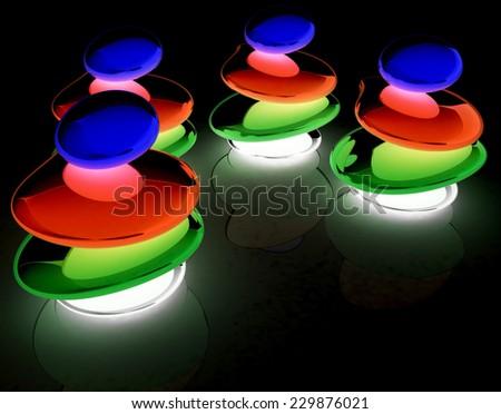 Colorfull spa stones. 3d icon - stock photo