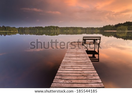 Colorfull sunset on Bobiecino lake in north Poland. Pomerania district/Silent Place - stock photo