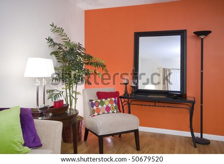 colorfully decorated living room - stock photo