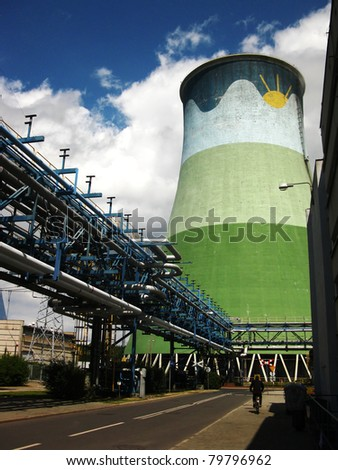 colorfully painted in a power plant cooling towers
