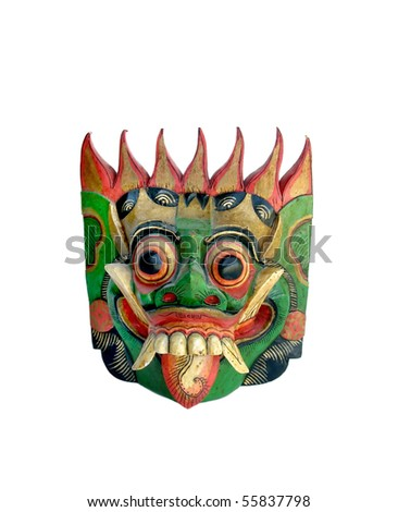 Colorfully painted wooden Indonesian mask - stock photo