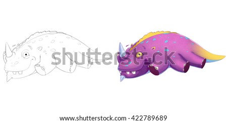 Coloring Book and Monster Creature Character Design Set 5: Sleeping Dinosaur isolated on White Background. Realistic Fantastic Cartoon Style Character Design, Story, Card, Sticker Design - stock photo
