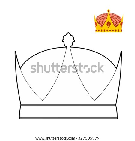 Coloring book Crown. Royal Crown. Hat for King.   illustration Royal accessory.  - stock photo