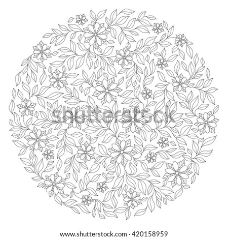 Coloring book for adult and  children. Coloring page with vintage flowers pattern. Floral ornament. Art mandala style. Black and white background. Could be use for coloring book in zentangle style. - stock photo