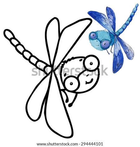 Coloring book funny Cartoon insect dragonfly. Cartoon insect dragonfly illustration. Entertainment for kid - stock photo