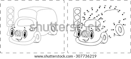 Coloring book. Funny lorry drawing with dots and digits - stock photo