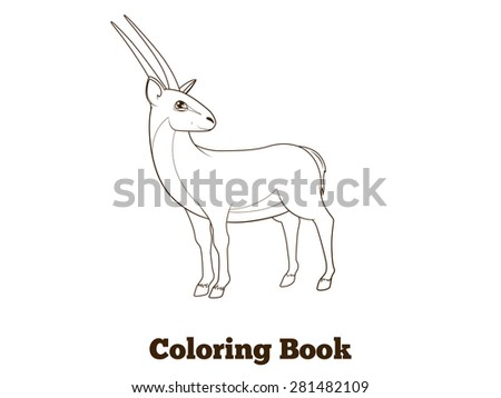 Coloring book gazelle african animal cartoon educational illustration raster version - stock photo