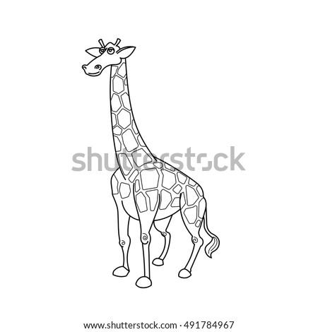 Coloring Book Giraffe African Savannah Animal Cartoon Raster Illustration For Children