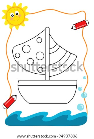 coloring book of the sea - boat - stock photo
