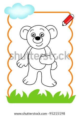 coloring book of the wood, the bear - stock photo