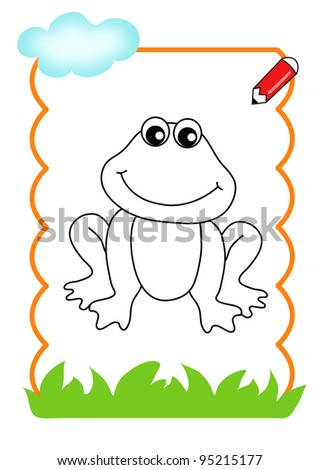 coloring book of the wood, the frog - stock photo