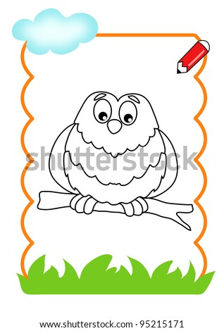 coloring book of the wood, the owl - stock photo