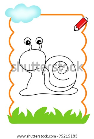 coloring book of the wood, the snail - stock photo