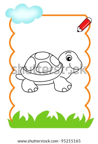 coloring book of the wood, the turtle - stock photo