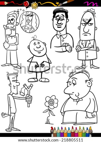 Coloring Book or Page Cartoon Illustration of Black and White Funny People Characters Set
