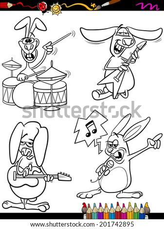 Coloring Book Or Page Cartoon Illustration Of Black And White Funny Rabbits Playing Rock Music
