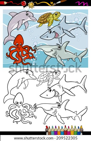 Coloring Book or Page Cartoon Illustration of Black and White Funny Sea Life Animals and Fish Characters for Children