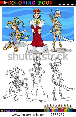 Coloring Book or Page Cartoon Illustration of Queen, Jester and Knight Lady Fairytale Fantasy Characters - stock photo