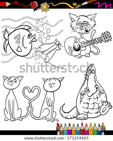 Coloring Book or Page Cartoon Illustration Set of Black and White Animals and Pets or Fantasy Characters for Children - stock photo