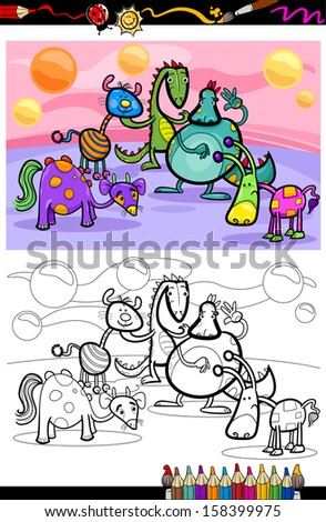 Coloring Book or Page Cartoon Illustrations of Fantasy Creatures Comic Mascot Characters Group for Children - stock photo