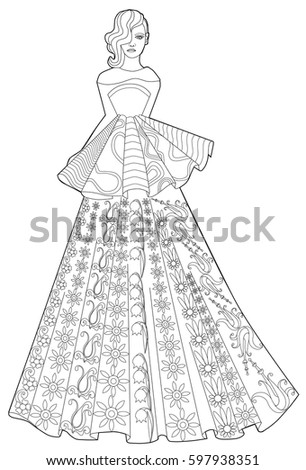 Young Pretty Fashion Model Hat Paris Stock Vector