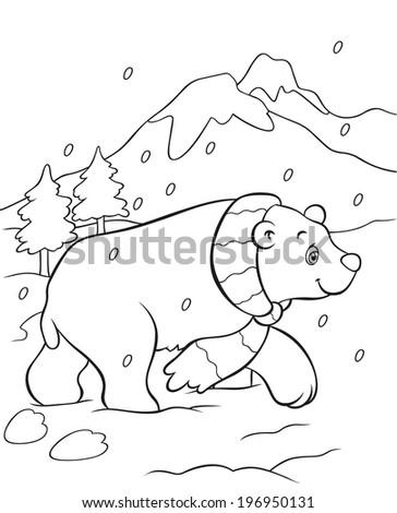 Coloring Book Vector Of Polar Bear In Snow