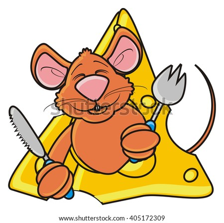 coloring  cheerful little mouse sitting in cheese