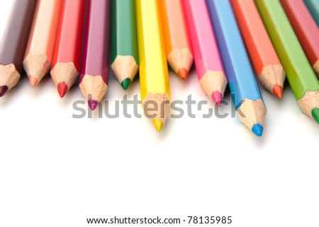 Coloring crayon pencils  isolated on white background - stock photo