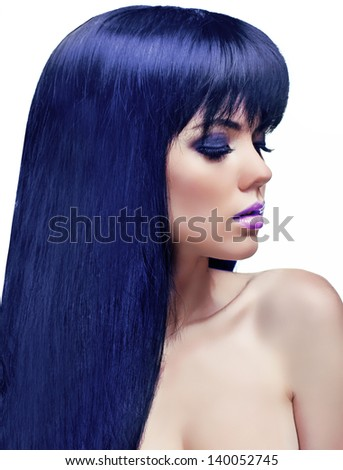Coloring Hair. Beautiful Brunette Girl. Healthy Long Hair. Beauty Model Woman. Hairstyle - stock photo