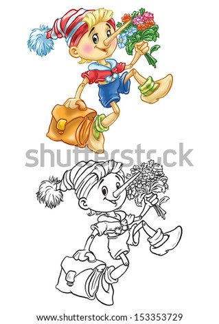 coloring of pinocchio goes to school - stock photo