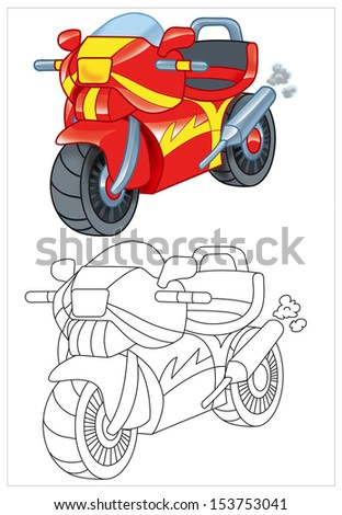 coloring of toy motorcycle motorbike - stock photo