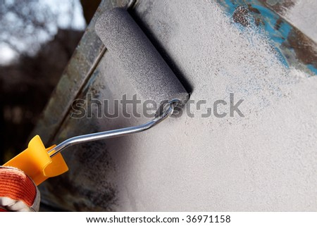 coloring old metal - stock photo