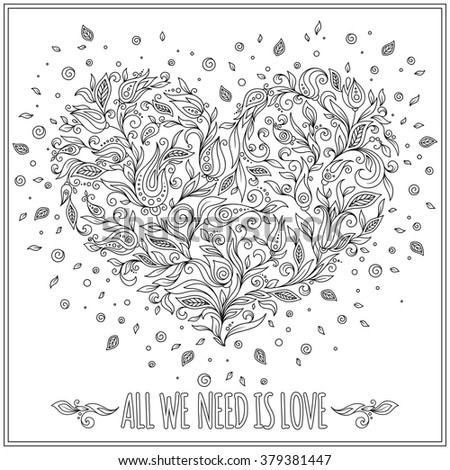 coloring page flower heart st valentines day greeting card hand made print digital art coloring