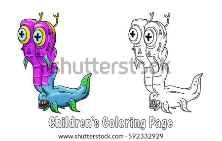 Coloring page for children. Crazy space alien or monster