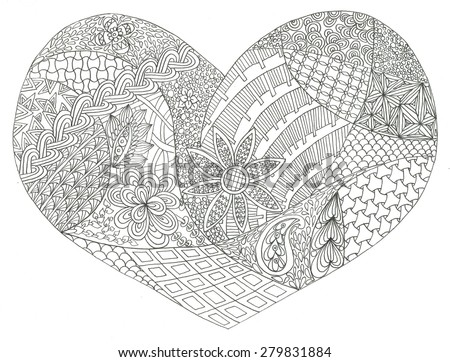 Coloring Page Heart St Valentines Day Stock Illustration 279831884 ...