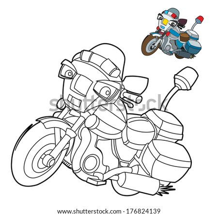 Coloring page - motorcycle - illustration for the children - stock photo