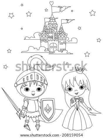 coloring page of young knight and cute princess against the backdrop of the castle