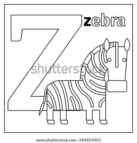 Coloring Page Or Card For Kids With English Animals Zoo Alphabet Zebra Letter Z