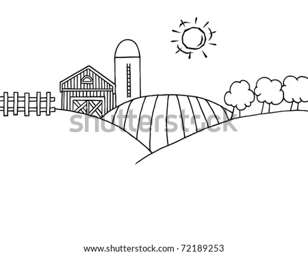 Coloring Page Outline Of Rolling Hills, A Farm And Silo On Farm Land - stock photo