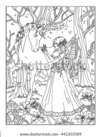 enchanted fairies coloring pages | Coloring Page Enchanted Fairy Stock Illustration 442203649 ...