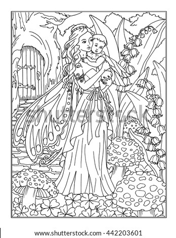 enchanted fairies coloring pages | Coloring Page Enchanted Fairy Stock Illustration 442203601 ...