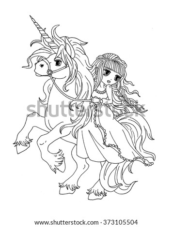 coloring page the princess on the unicorn