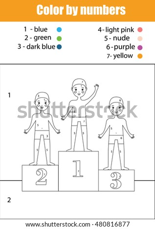 Coloring Page With Boys Swimming Sport Team Color By Numbers Task