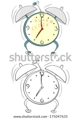 Coloring page with cartoon alarm clock on a white background. Raster - stock photo