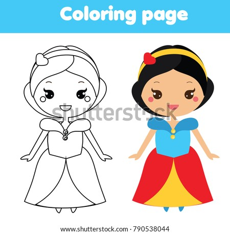 Coloring Page With Cute Princess In Kawaii Style Color The Picture Educational Children Game