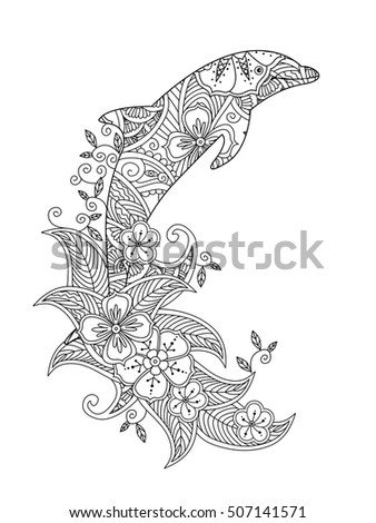 coloring page with ornate jumping dolphin on floral waves vertical composition coloring book for