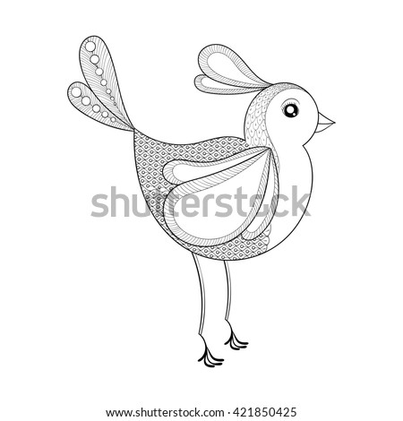 Coloring Page With Zentangled Bird Hand Drawn Patterned Exotic Artistically Decorative For