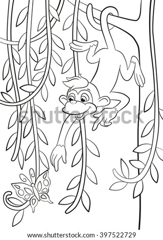 Coloring pages. Little cute monkey is hanging on the tree branch in the forest, smiling and pointing somethere. - stock photo