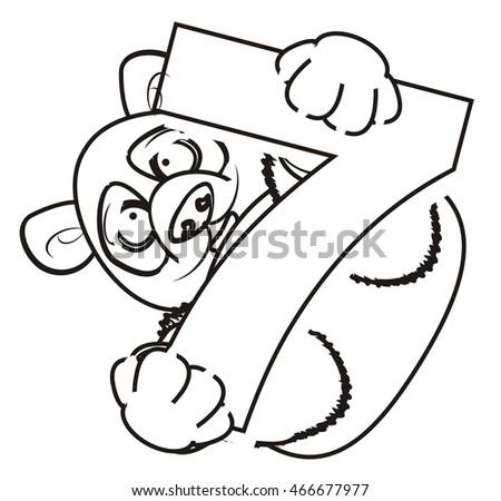 Coloring Panda Holding Number Seven Stock Illustration 466677977 ...