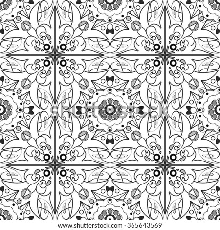 Coloring seamless pattern page book with decorative floral ornamental elements illustration - stock photo